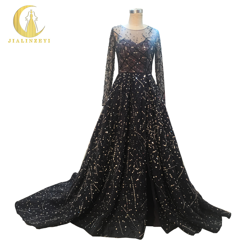 Suzhou Rhine Bridal Dresses.,Ltd Rhine Real Sample Image Zuhair Murad Long Sleeves Navy Blue Hand Work Sexy Luxurious papelaria Party Evening vestido de noiva