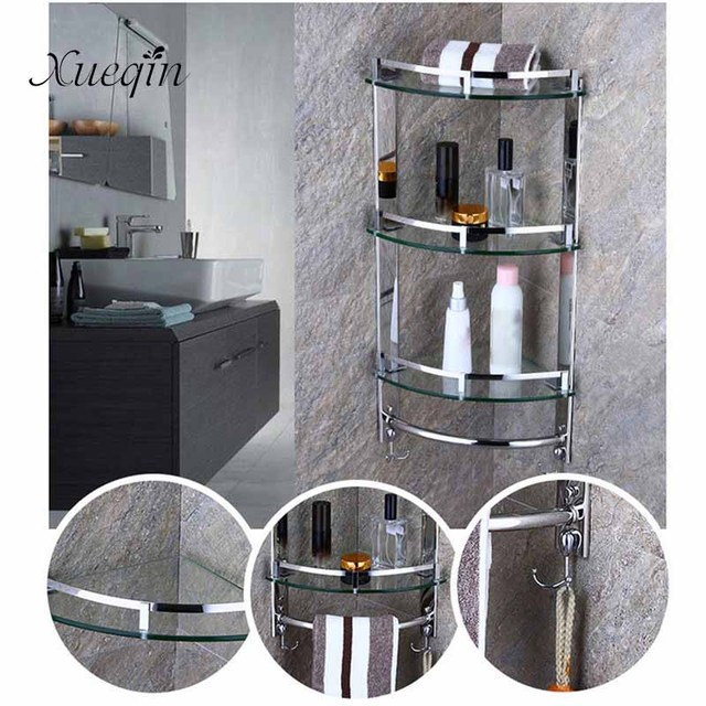 Wall Mounted Bathroom Shower Shelf 1/2/3 Tier Stainless Steel Glass  Triangle Bathroom
