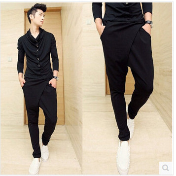 Free Shipping 2015 New style Fashion Male Cotton Personality Nightclub Drop Crotch Hip Hop Trousers Men Harem Pants