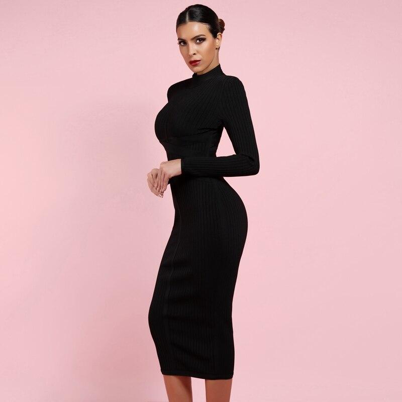 Ocstrade Bodycon Dress 2019 Nude Turtleneck Rayon Long Sleeve Bandage Dress High Quality Ribbed Womens Midi Bandage Dress Sexy