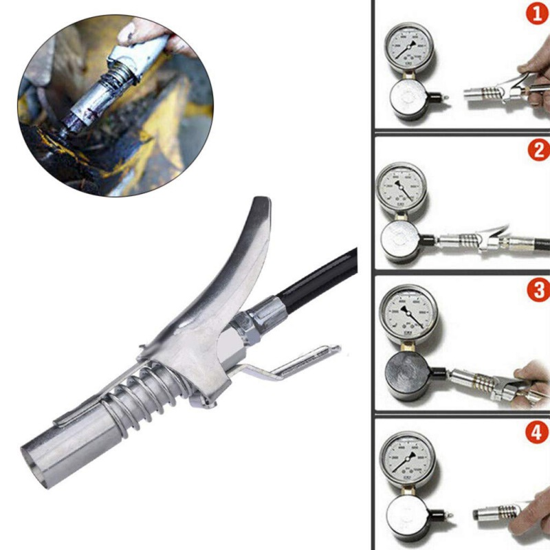1PC Universal Grease Gun Coupler Double Handles Locking Clamp High Pressure Oil Gun Nozzle Grease Coupler