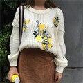 Женщины Свитера 2017 Корейский Новая Мода Lemon Вышивка Случайные Короткие Пуловеры С Длинным Рукавом Свободные О-Образным Вырезом Batwing Трикотаж 62967