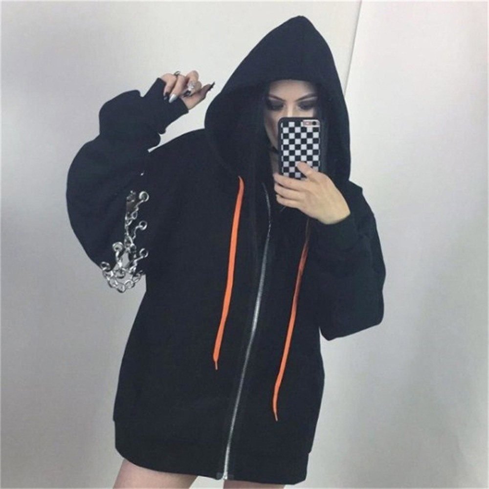 2018 Fall Casual Gothic Office Lady Plus Size Women Sweatshirts Loose Hooded Zipper Plain Hollow Chain Girls Oversize Hoodies