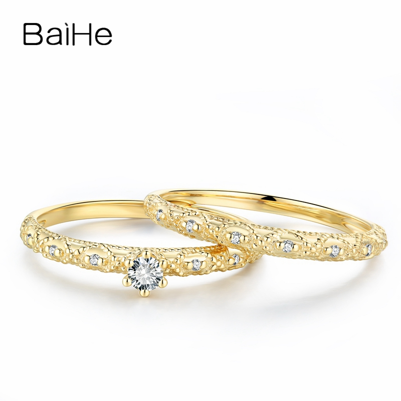BAIHE Solid 18K Yellow Gold 0.10ct Certified H/SI Round CUT 100% Natural Diamonds Engagement Women Trendy Fine Jewelry GIFT Ring baihe solid 18k yellow gold au750 engagement