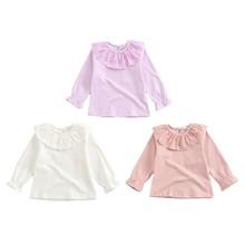 Коллекция года, осенняя футболка с длинными рукавами для девочек Модная хлопковая детская одежда футболка для девочек с воротником-куклой одежда для малышей