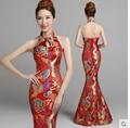 2017 Long Raceback Bridesmaid Dresses Chinese Traditional Cheongsam Halter Neck High Collar Raceback Qipao Bandage Slim Satin