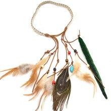 2017 fashion peacock feather suede headband india style bohemian handmade feather headband hair accessories