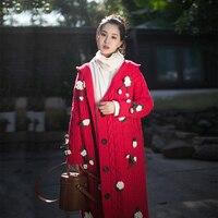 IRINAY503 2019 Новая коллекция цветок связанные крючком с капюшоном Длинные Винтаж свитер кардиган для женщин