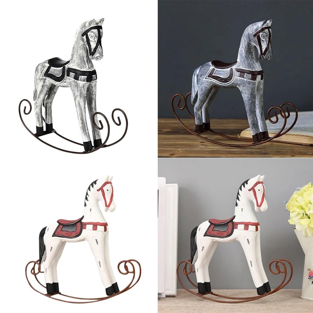 Nordic Wooden Rocking Horse Statue Wedding Decor Wood Horse Crafts Diy Bar Living Room Ornament Kids Toys Figurines Miniatures Aliexpress