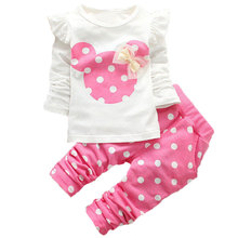 Spring Newborn Baby Girls Minnie Clothes Sets Fashion Suit T Shirt Pants Suit Baby Girls Outside Wear Sports Suit Clothing Sets