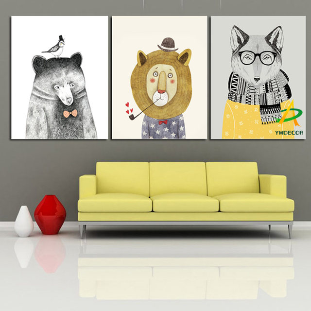 Online Shop YWDECOR 3 Panel Kindly Fox Cute Pear Lion Animal Canvas ...