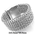 Large Heavy Cool Jewelty Stainless Steel Bracelet Link Wrist Bracelet Silver Wild Bracelet Size Length 30 mm Width  245 mm