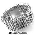 Large Heavy Cool Jewelty Stainless Steel Bracelet Link Wrist Bracelet Silver Wild Bracelet Size Length 30 mm Width  245 mm
