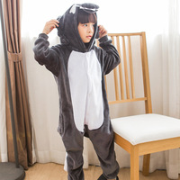 Grey Wolf Kigurumi Child Onesies Kid Animal Overall Boy Girl One Piece Suit Festival Party Pajama Cheese Cat Cosplay Costume War