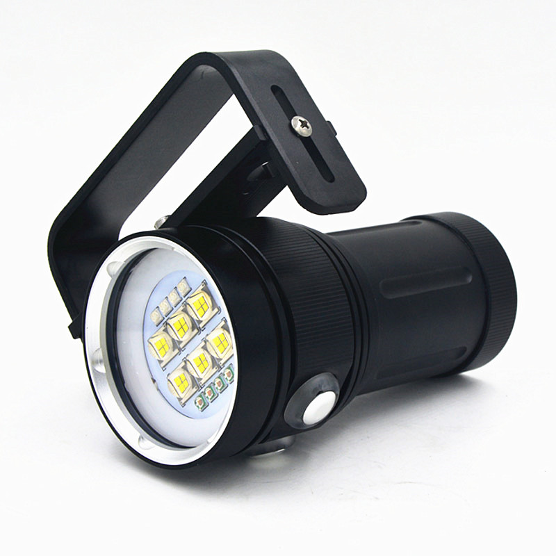 New LED Diving Torch Underwater Video 18650 Flashlight Dive Torch light lamp For Diving with Battery