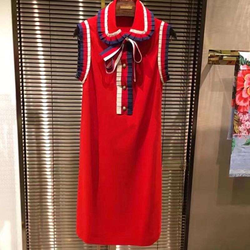 2019. gada vasaras sarkanās Sarafan kleitas sieviešu skrejceļa - Sieviešu apģērbs - Foto 1