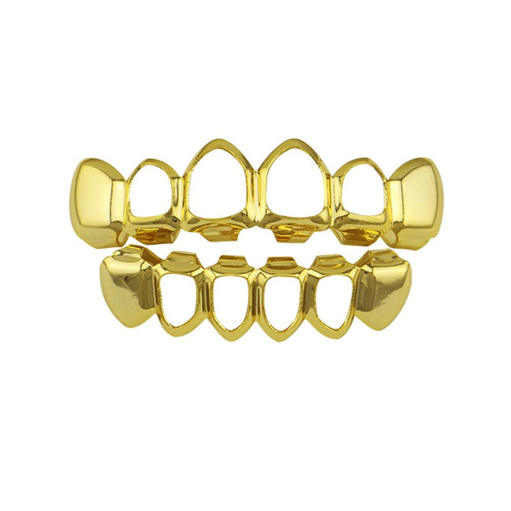 DreamBell Gold Electroplating Fashionable Hollow-out Teeth Grillz Set Teeth Socket Shiny False Teeth for Rapper Hip-hop image