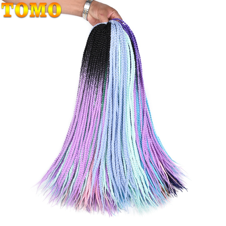 TOMO Colored Box Braid Crotchet Braids 24Inch Synthetic Ombre Kanekalon Braiding Hair Ex ...