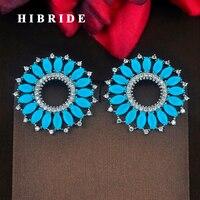 Mariquse HIBRIDE Marca Azul Claro Corte Flor Stud Pendientes De la Mujer Pendiente de La Manera Precio Al Por Mayor boucle d'oreille E-759