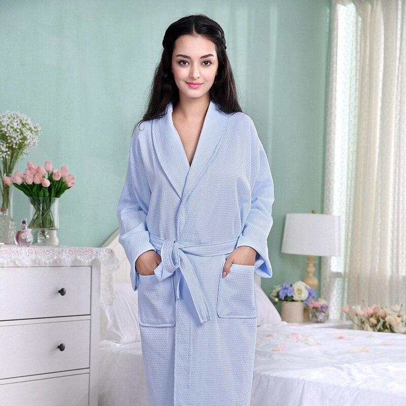 Kimono d'été coton Robe hommes femmes Sexy Peignoir gaufre Robes doux Peignoir Homme Badjas sommeil vêtements de nuit de salon - 2