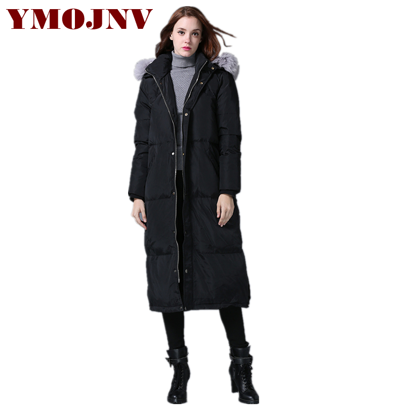 New Fashion Lengthened Down Parka Winter Coat Women Down Jacket Female Luxury Fox Fur Collar Snow Wear Thick Warm Outwear Hooded new men women winnter brand natural down coat thick feather padded outdoor jacket man hooded warm primaloft outwear