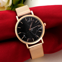 Ladies' Luxury Silver Rose Gold Watch Marble Texture Dial Ultra Thin Mesh Belt Elegant Fashion Bracelet Women's Wristwatches