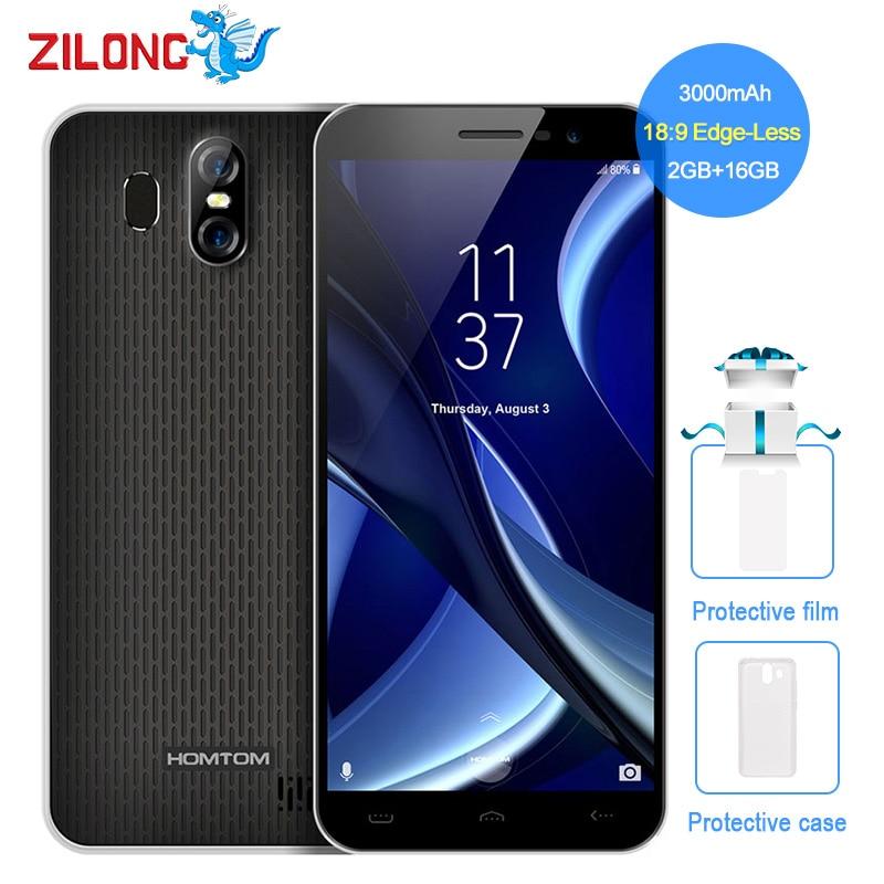 HOMTOM S16 5,5 дюйма 18:9 край-менее Дисплей Android7.0 смартфон 3000 мАч 2 ГБ Оперативная память 16 ГБ MT6580 4 ядра 13MP отпечатков пальцев телефона