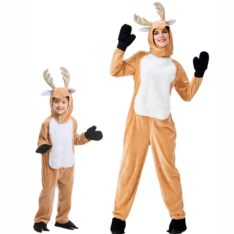 Home Knowledgeable Kids Adult Christmas Reindeer Moose Jumpsuit Costumes Cosplay Animal Elk Ball Party Fancy Dress Parent Child Matching Outfits