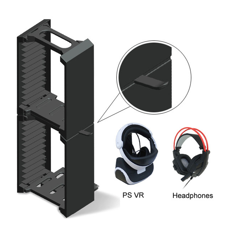 Pour PS4 Pro/PS4 Slim/PS4/ONE S/VR lunettes support casque 24 jeux CD disques stockage siège support Double couche support
