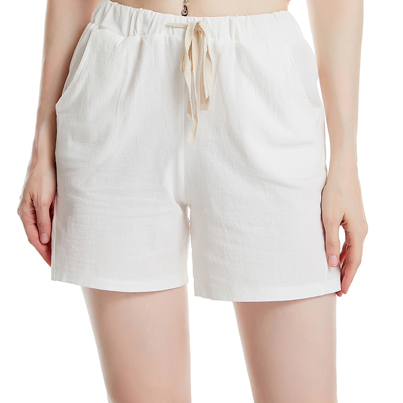 Summer Shorts Women's Elastic Wasit Home Loose Casual Shorts Women Cotton Linen Shorts Trousers Feminino Plus Size With Pocket