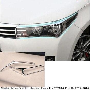 รถด้านหน้าโคมไฟ hood Molding กรอบ stick ABS Chrome trim part 2 pcs สำหรับ Toyota Corolla altis 2014 2015 2016