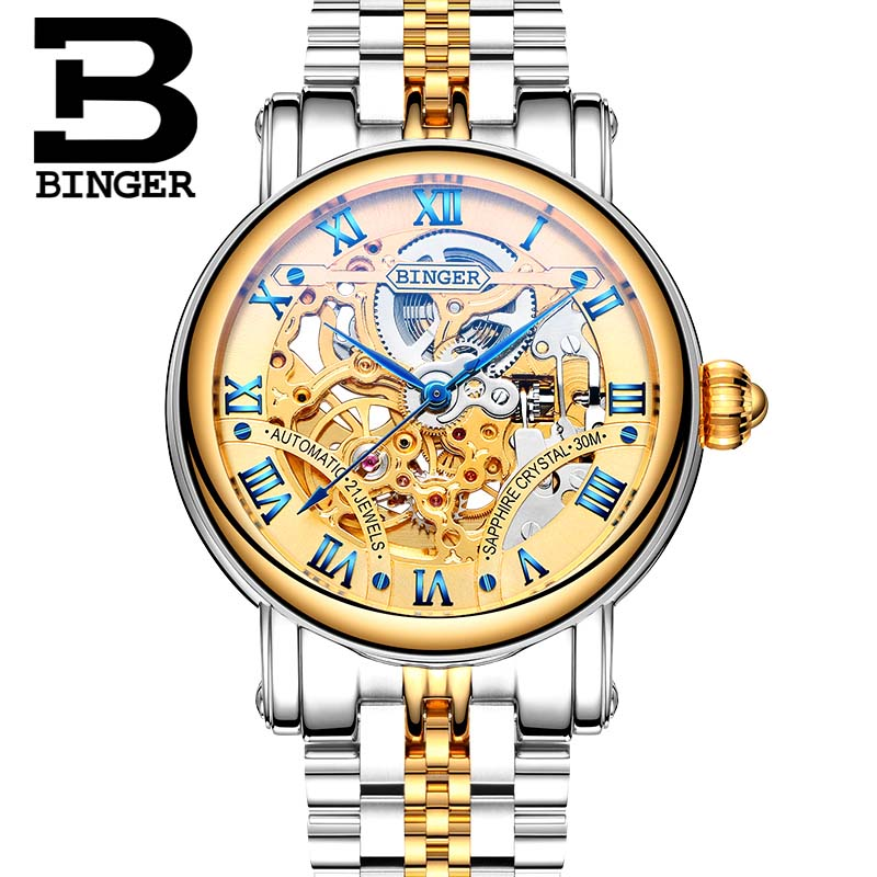 Luxury BINGER Automatic Watches 2017 Couple Watch Skeleton Fashion Women Watch Steel Strap Men Business Wristwatches B-5066M