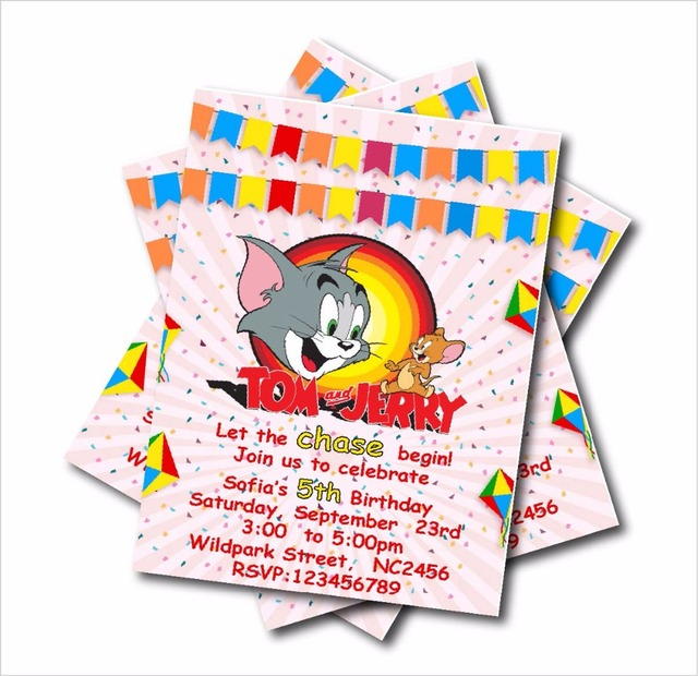 14 Pcs Lot Tom And Jerry Birthday Party Invitations Girl Baby Shower