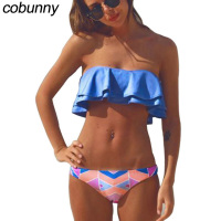 Cobunny Vintage Bikini Set Women Swimsuit Push Up Swimwear 2018 Bandeau Ruffle Print Brazilian Bikini Beachwear