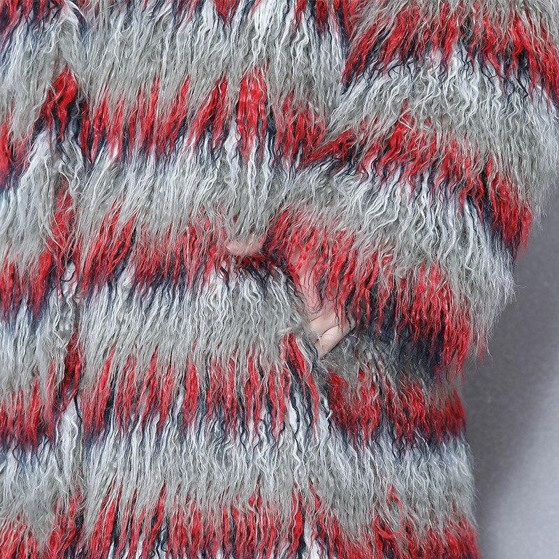 Nerazzurri Fluffy maxi faux fur coat woman extra long gradual color hairy plus size fake mongolian sheep fur overcoat 5xl 6xl in Faux Fur from Women 39 s Clothing
