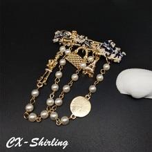 цены на CX-Shirling Women Chain Tassel Brooch Pins Broach Vintage Quality Pearl Gentleman Gentlewomen Brooch Pin Lady Brooch Pins  в интернет-магазинах