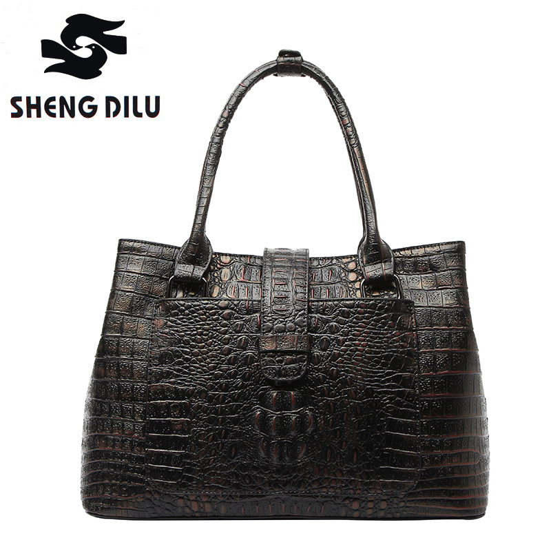 cow leather bolsa feminina genuine leather handbag shengdilu brand new 2018 women top grade Alligator shoulder bag free Shipping sales zooler brand genuine leather bag shoulder bags handbag luxury top women bag trapeze 2018 new bolsa feminina b115
