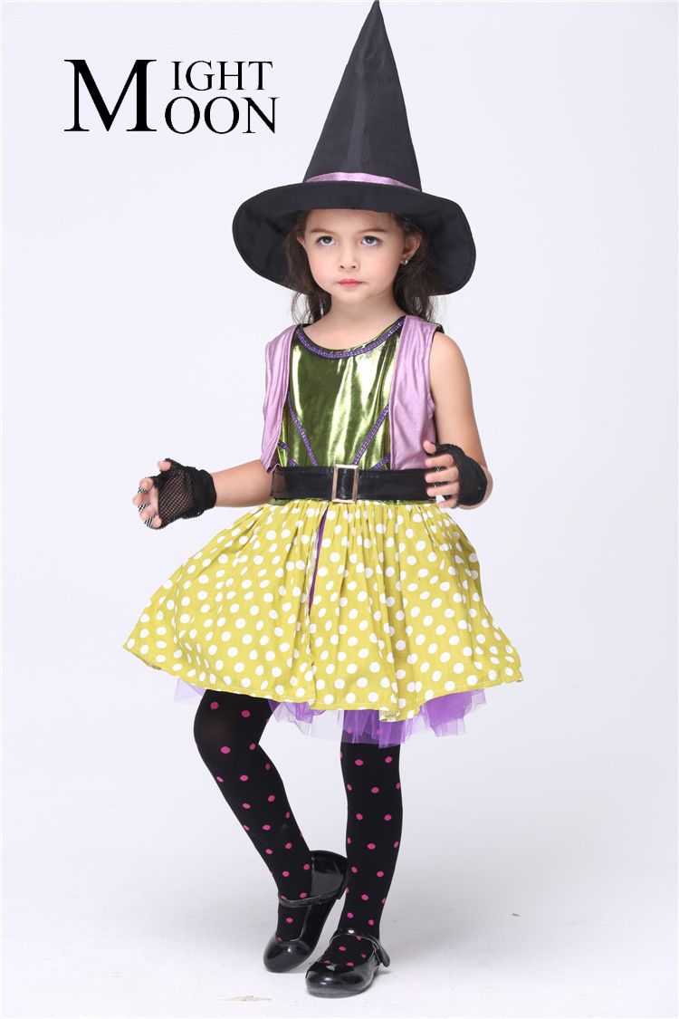 MOONIGHT Kids Witch Costumes Cosplay Witch Cartoon Costumes For Children Girl'S Halloween Witch Performance Party