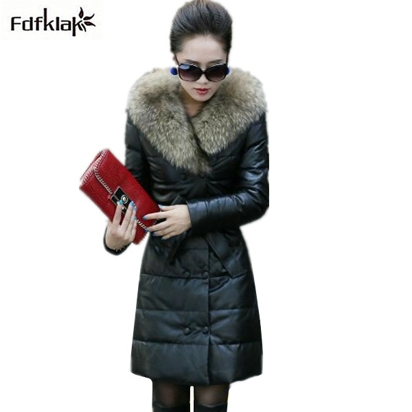Luxury Big Fur collar women's winter jacket new faux leather coat plus size cotton-padded female long coats parkas S-5XL inc new beige women s size small s faux leather knit motorcycle jacket $99
