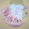 Baby Girl Clothes Floral Ruffle Shortsleeve Saias Skirt Set Ruffle Tutu floral pettiskirt with Crwon Pattern Bodysuit