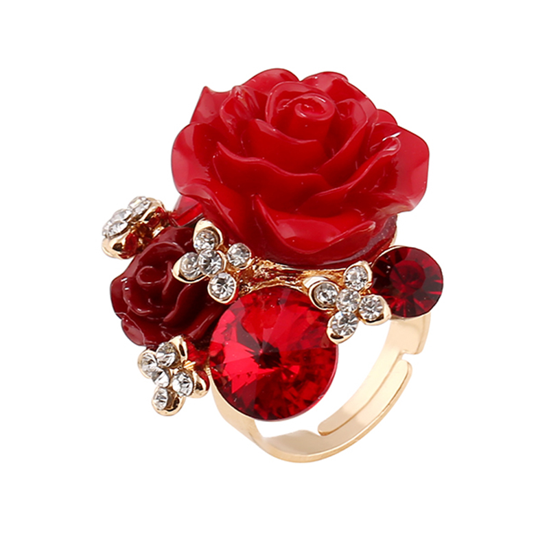 New Fashion Design Woman Party Rings Rose Decoration Resin
