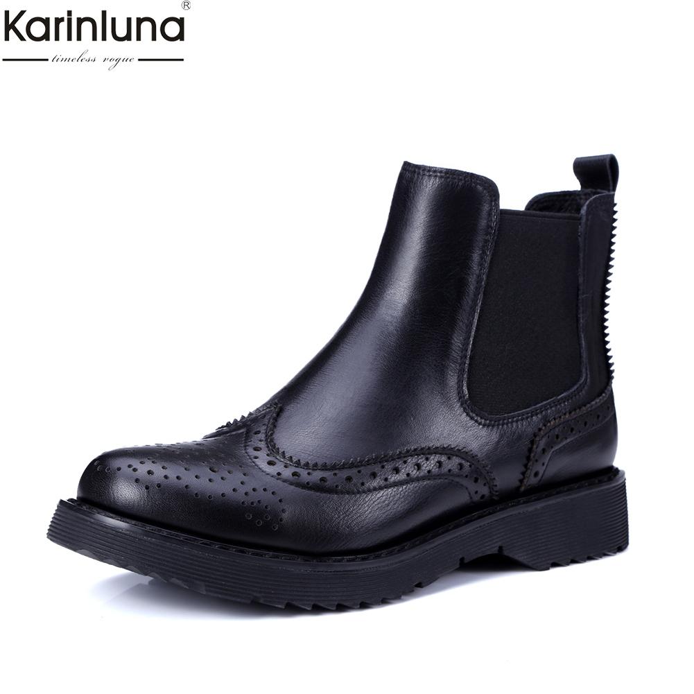 Karinluna Brand New Dropship patent leather Genuine Leather chelsea Boots Women Shoes fashion brogue shoes leisure ankle Boots-in Ankle Boots from Shoes    1