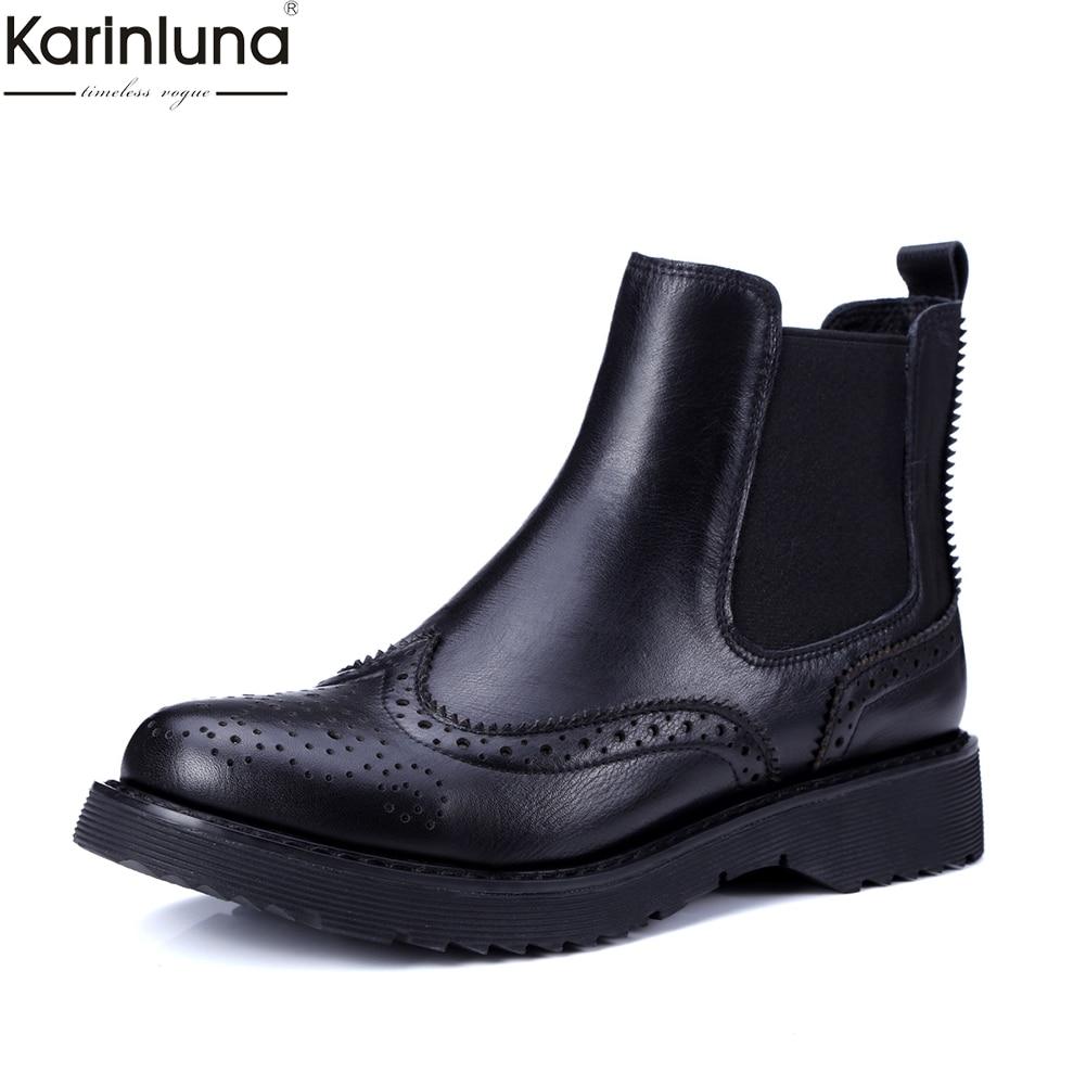 Leather Black Cow Patent Véritable Karinluna Cheville black En Leather De Dropship Bottes Marque Mode Femmes Loisirs Richelieu Chaussures Nouveau Chelsea Verni Cuir vyfgY6b7