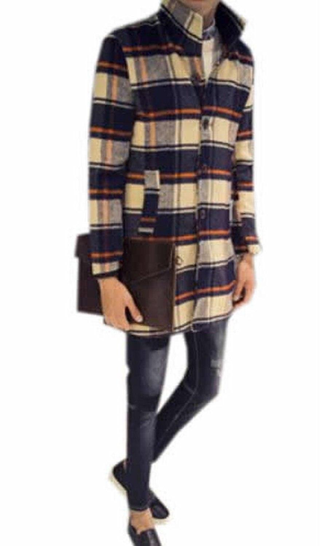 Zago Mens Casual Plaid Single Breasted Stand Collar Pea Coat