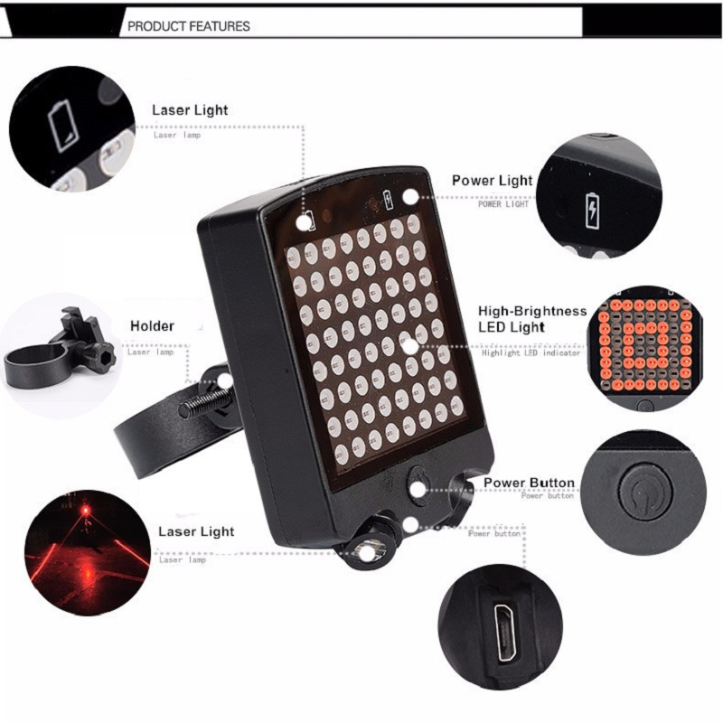 High Quality 64 LED Laser Bicycle Rear Tail Light USB Rechargeable With Wireless Remote Bike Turn Signals Safety Warning Light