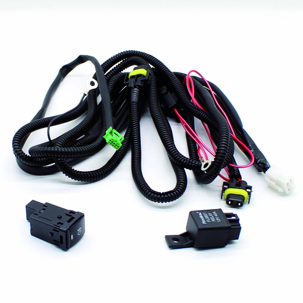 For KIA RIO Wiring Harness Sockets Wire+Switch Wi/ LED Indicators For Fog Light Lamp