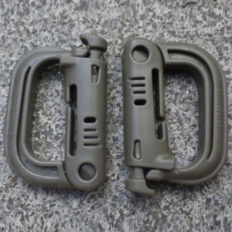 2Pcs Molle Tactical Backpack EDC Shackle Carabiner Snap D Ring Clip Backpack Locking Travel Kit