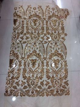 Latest SYJ-11253 African Tulle Lace High Quality french lace fabric with sequins For dress