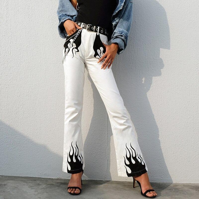 7Mang 2019 Spring Streetwear White Punk Wide Leg Pants Women Elegant High Waist FlareTrousers Fire Print Bell Bottom Pants 0105