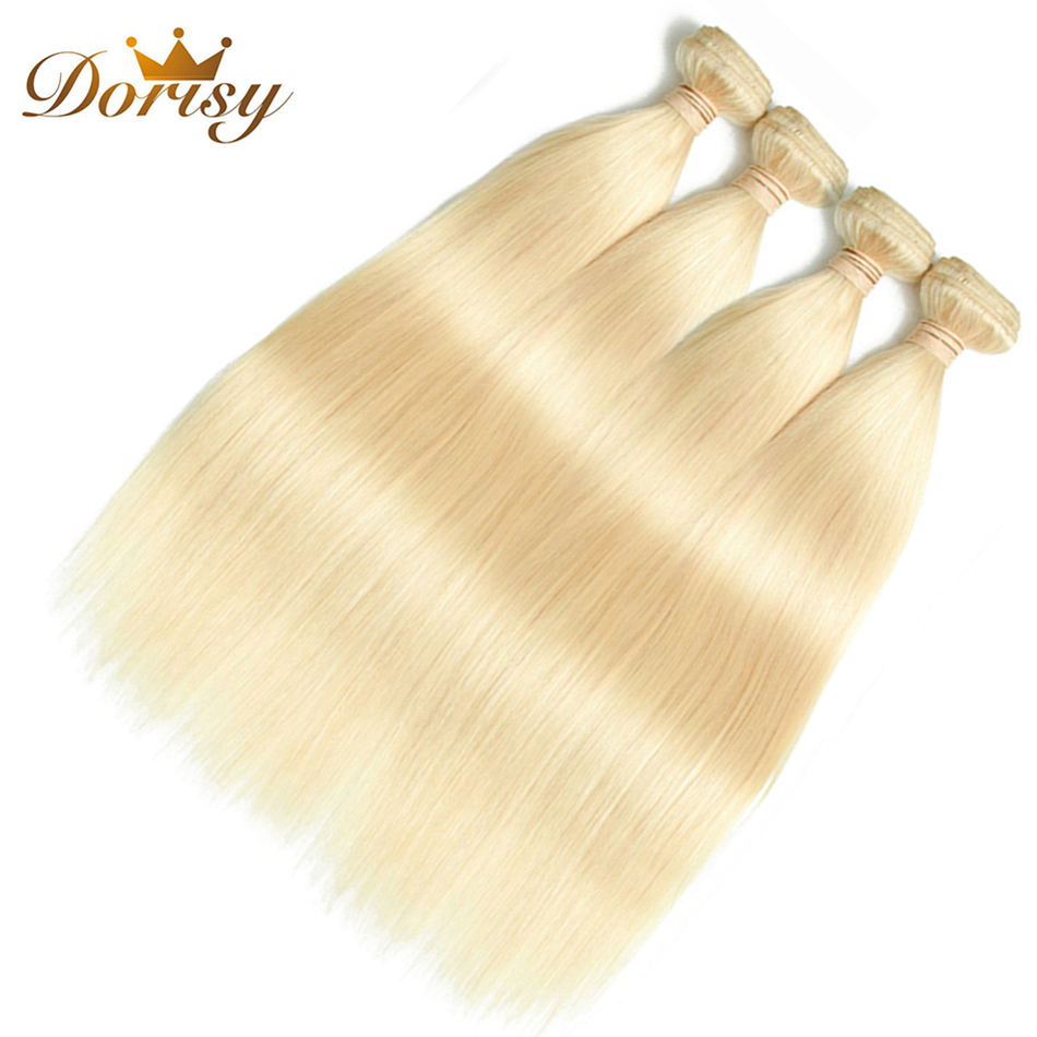 Dorisy Hair 4 Pcs 100% Human Hair Weave Bundles 10-24 Inch Peruvian Straight 613 Blonde Bundles Remy Hair Extension No Smell